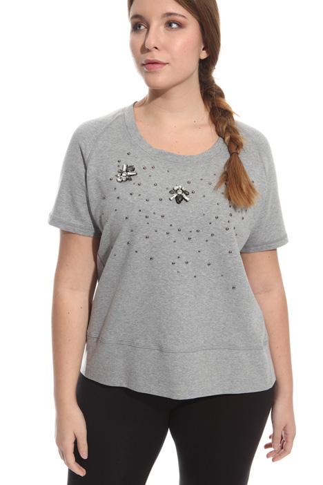 T-shirt in felpata con strass Diffusione Tessile