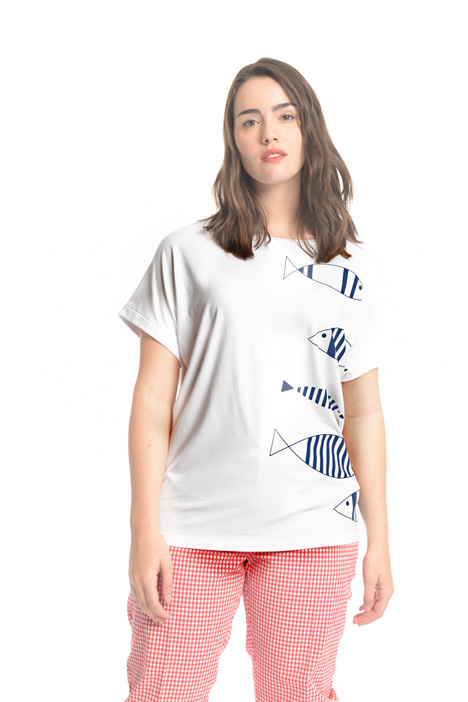 T-shirt in jersey con stampa Diffusione Tessile