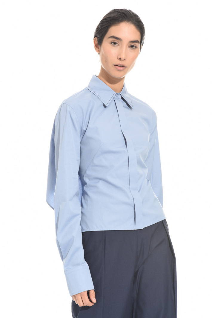 Poplin top with insert Intrend