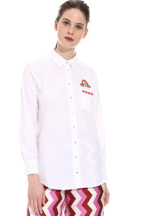Patch poplin shirt Intrend