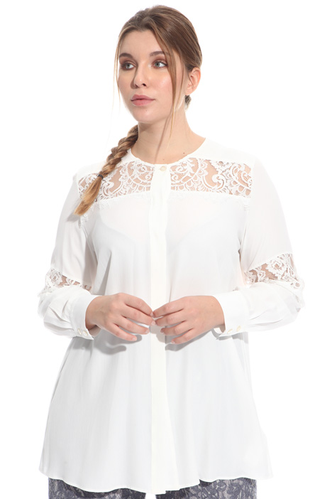 Shirt with lace inserts Diffusione Tessile