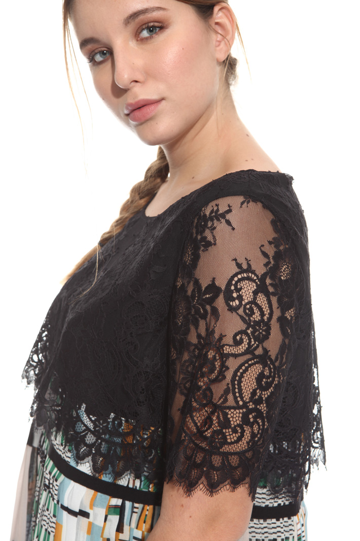 Georgette and lace top Diffusione Tessile