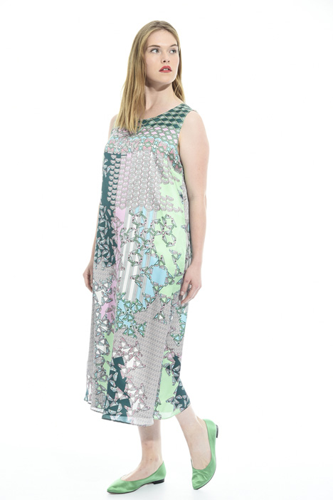 Fluid printed satin dress Diffusione Tessile