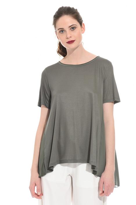 T-shirt con pannello plissé Diffusione Tessile