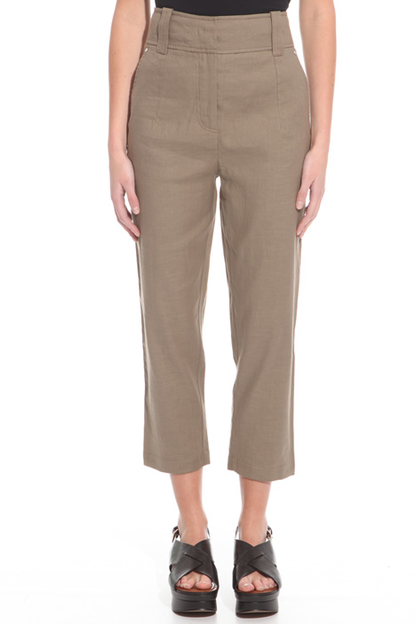 High-waist linen trousers Diffusione Tessile