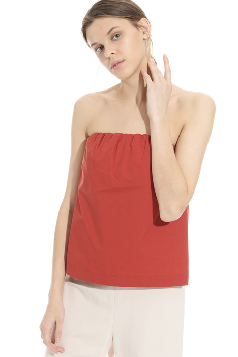 Strapless poplin top Intrend