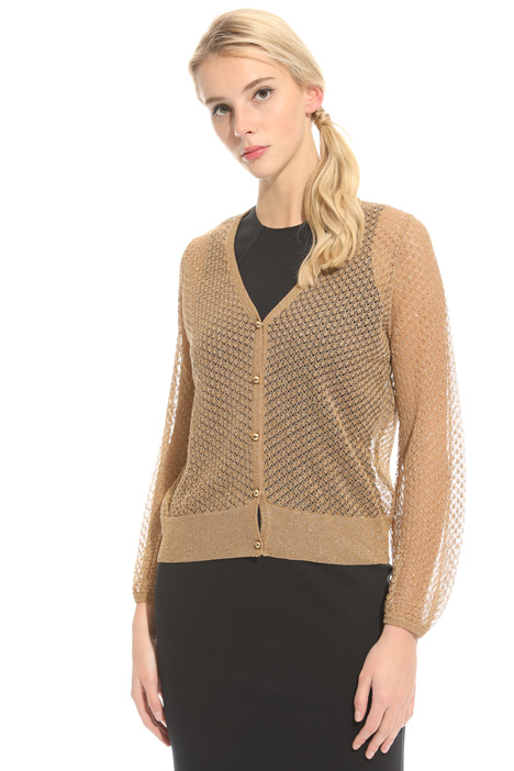 Lace-effect lurex cardigan Intrend