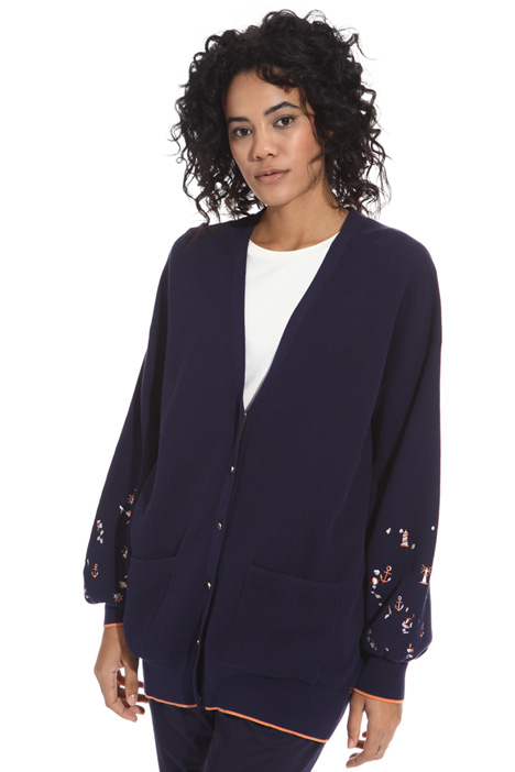 Oversized embroidered cardigan Diffusione Tessile