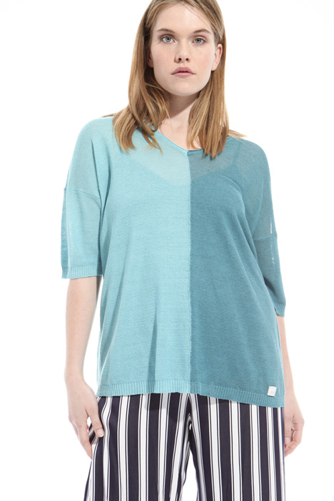 Two-tone linen blend sweater Intrend