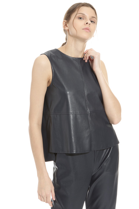 Leatherette boxy top Intrend