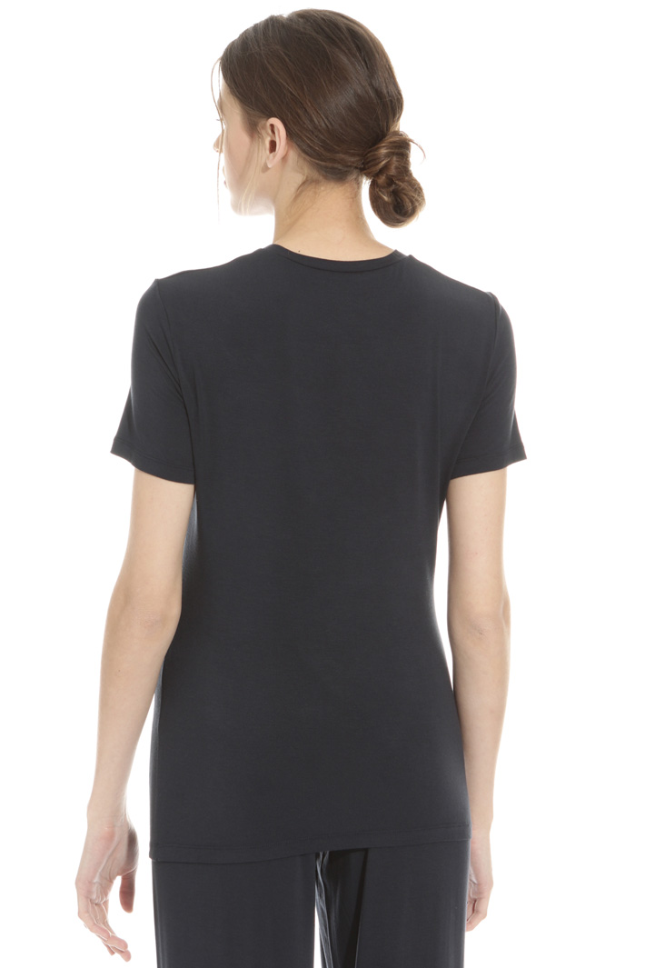Viscose crepe neck T-shirt Intrend