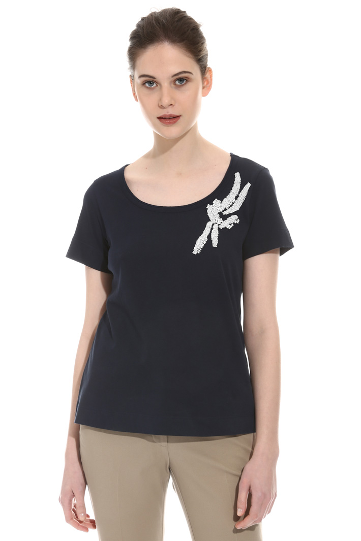 T-shirt with bead embroidery Intrend