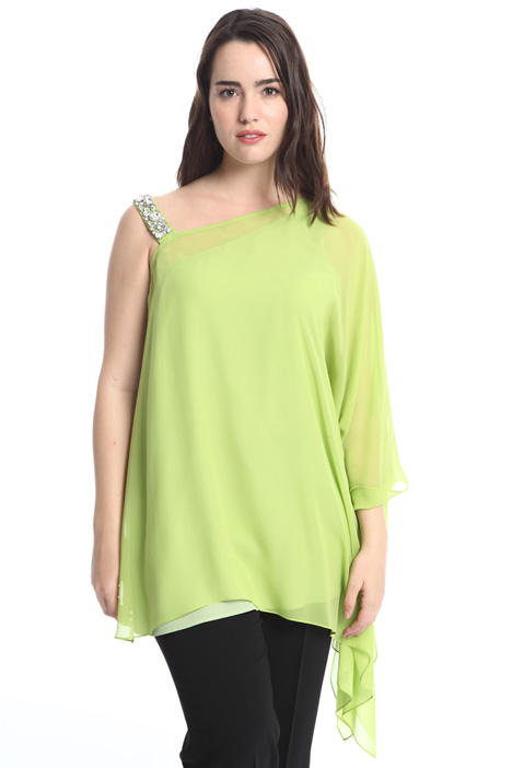 One-shoulder blouse in silk Diffusione Tessile
