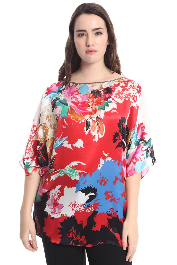Printed silk satin blouse Diffusione Tessile