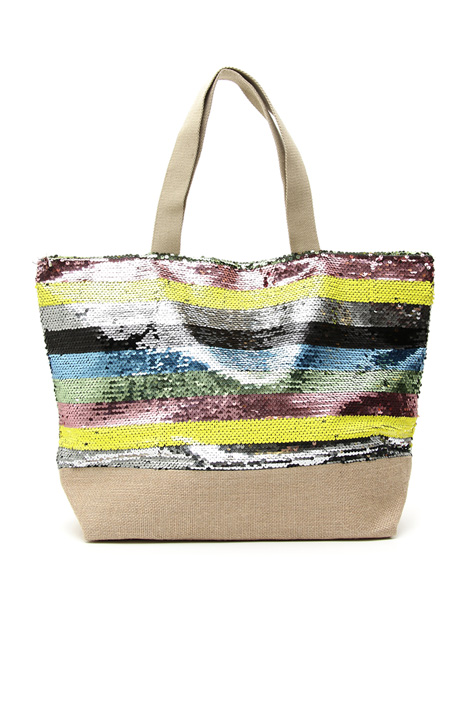 Raffia and sequin shopper bag Intrend