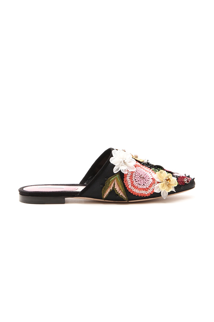 Sabot with floral embroidery Diffusione Tessile
