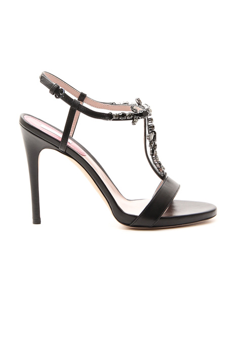 Jewel sandals in leather Diffusione Tessile