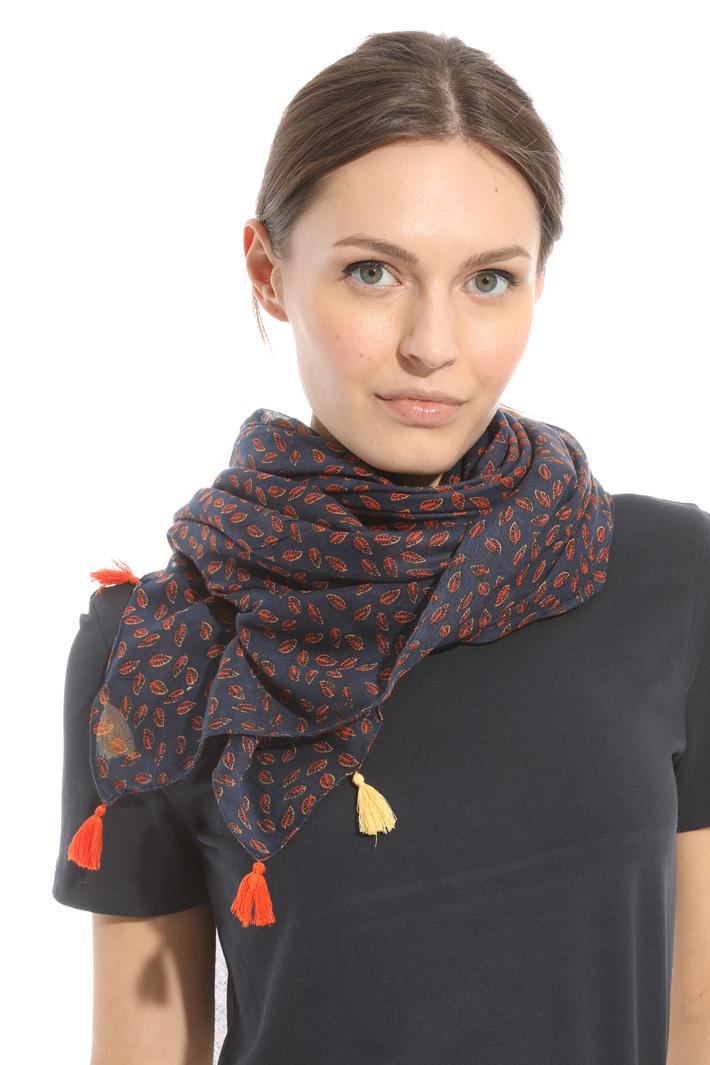 Multi-coloured tassel scarf Intrend