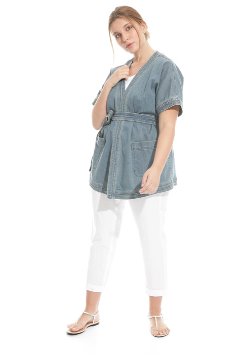 Giacca kimono in denim stretch Intrend
