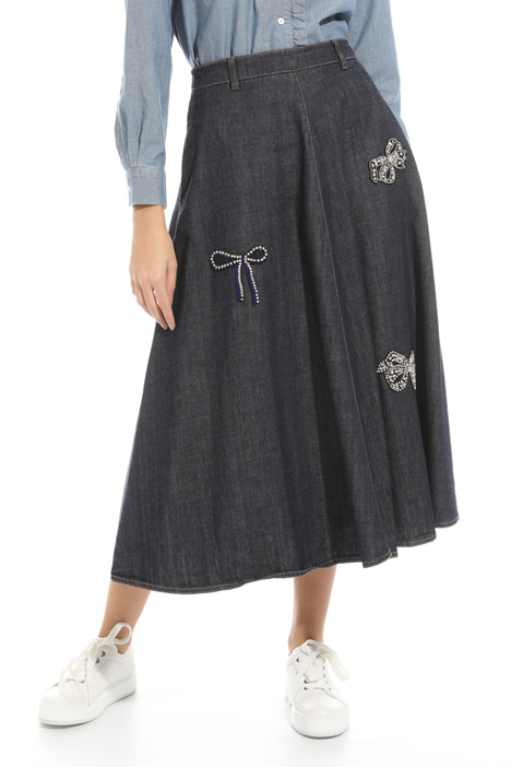 Embroidered denim skirt Intrend