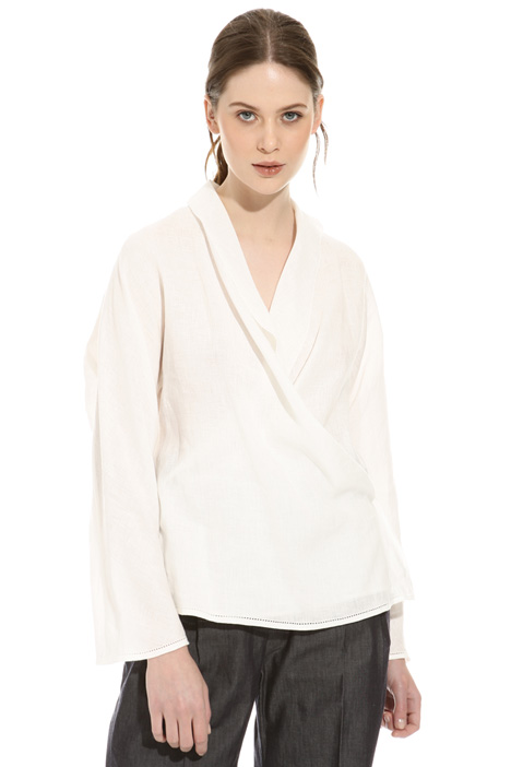 Wrap-up linen blouse Diffusione Tessile