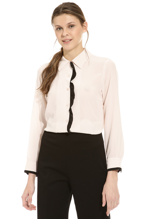 Frilled silk shirt Intrend