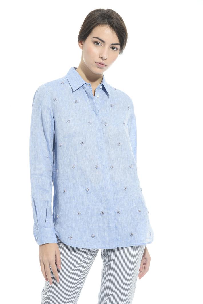 Camicia in lino con ricami Intrend