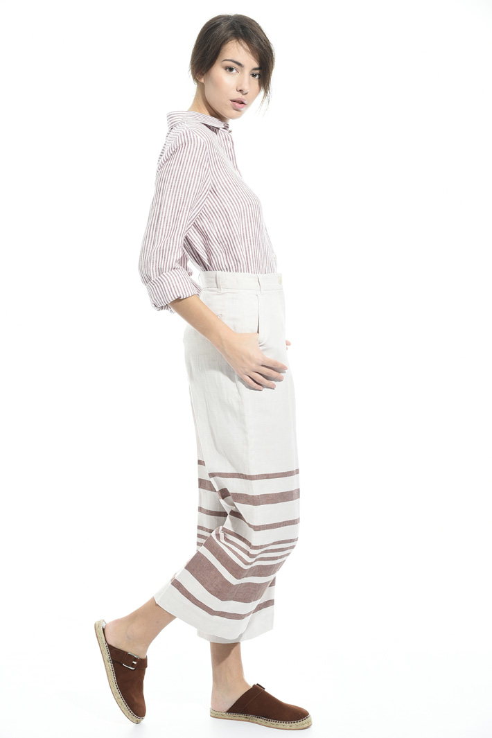 Pantalone in lino con righe Intrend