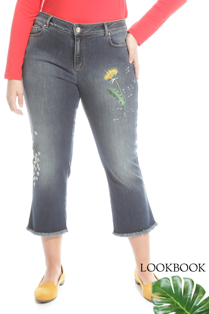 Jeans cropped ricamato Intrend
