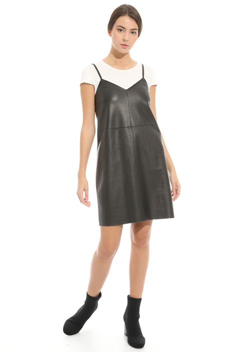 Nappa and jersey mini dress Intrend