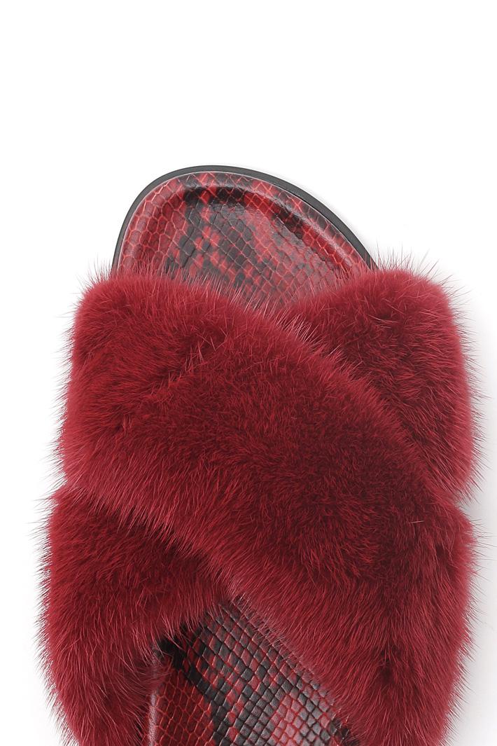 Mink leather slipper Intrend