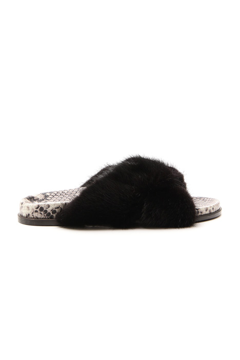 Mink leather slipper Diffusione Tessile