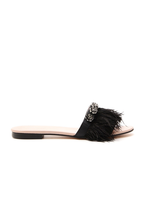 Sandalo flat con piume Diffusione Tessile