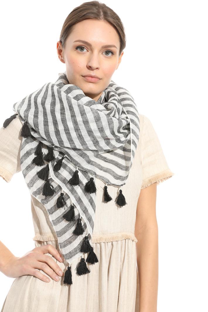 Tassel linen scarf Diffusione Tessile