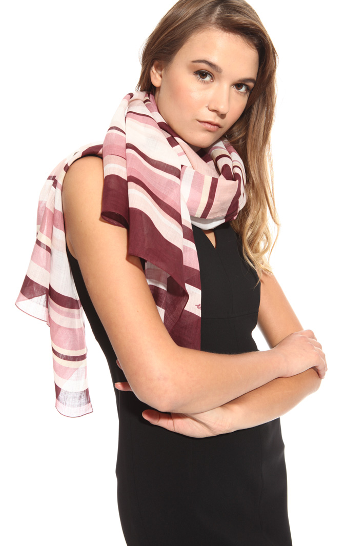 Striped scarf in ramie  Intrend