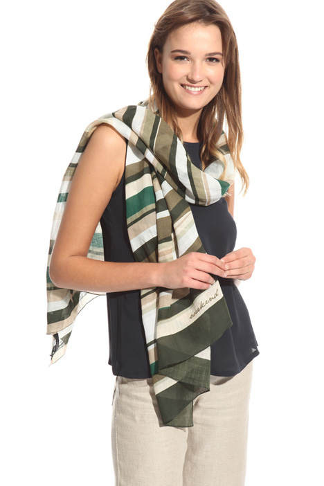 Striped scarf in ramie  Diffusione Tessile