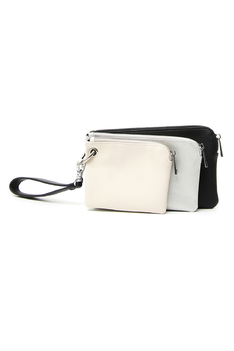 Triple leather pochette Diffusione Tessile
