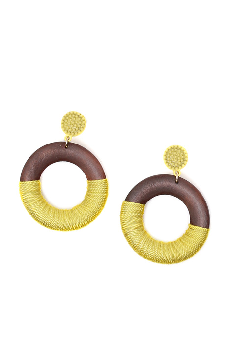 Wood disc earrings Diffusione Tessile