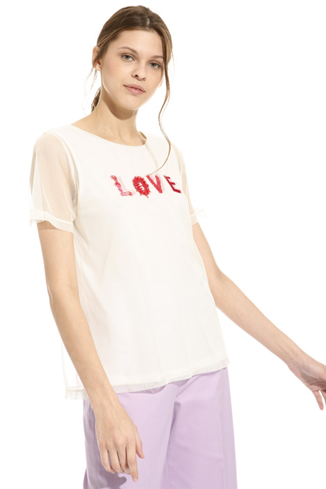 Embroidered tulle T-shirt Diffusione Tessile