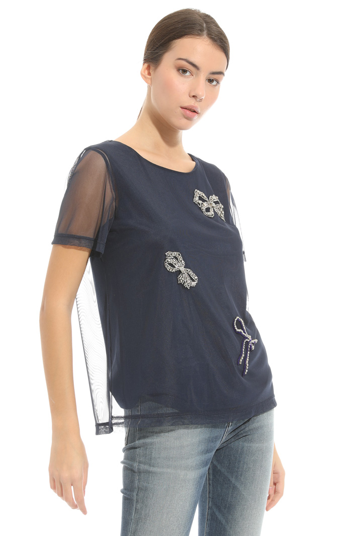 Top in tulle con ricami Intrend