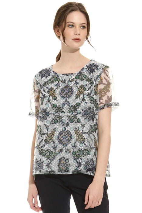Printed blouse with organza Diffusione Tessile