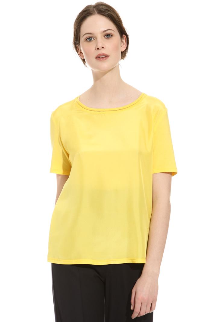 T-shirt mix di cotone e seta Intrend