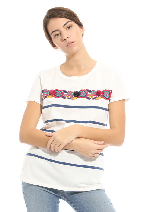 Printed and embroidered T-shirt Diffusione Tessile
