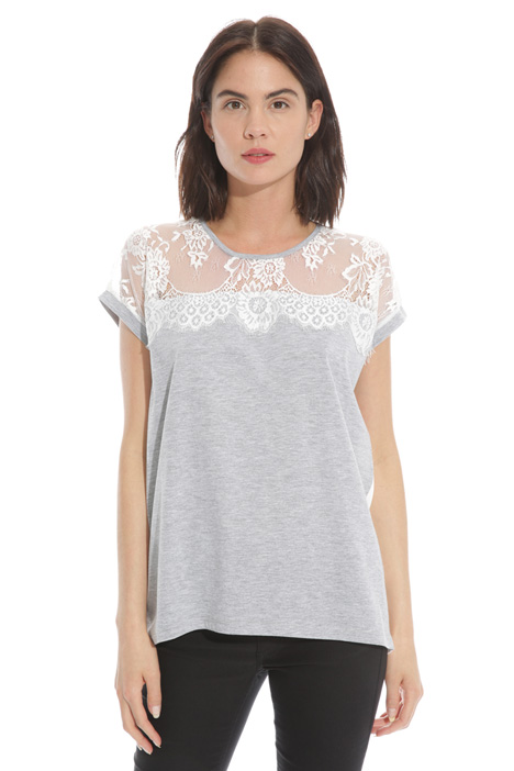 T-shirt con carré in pizzo Intrend