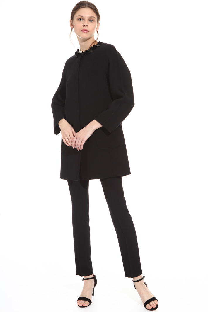 Coat with neckline embroidery  Intrend