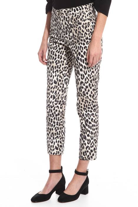 Fitted trousers with print Diffusione Tessile