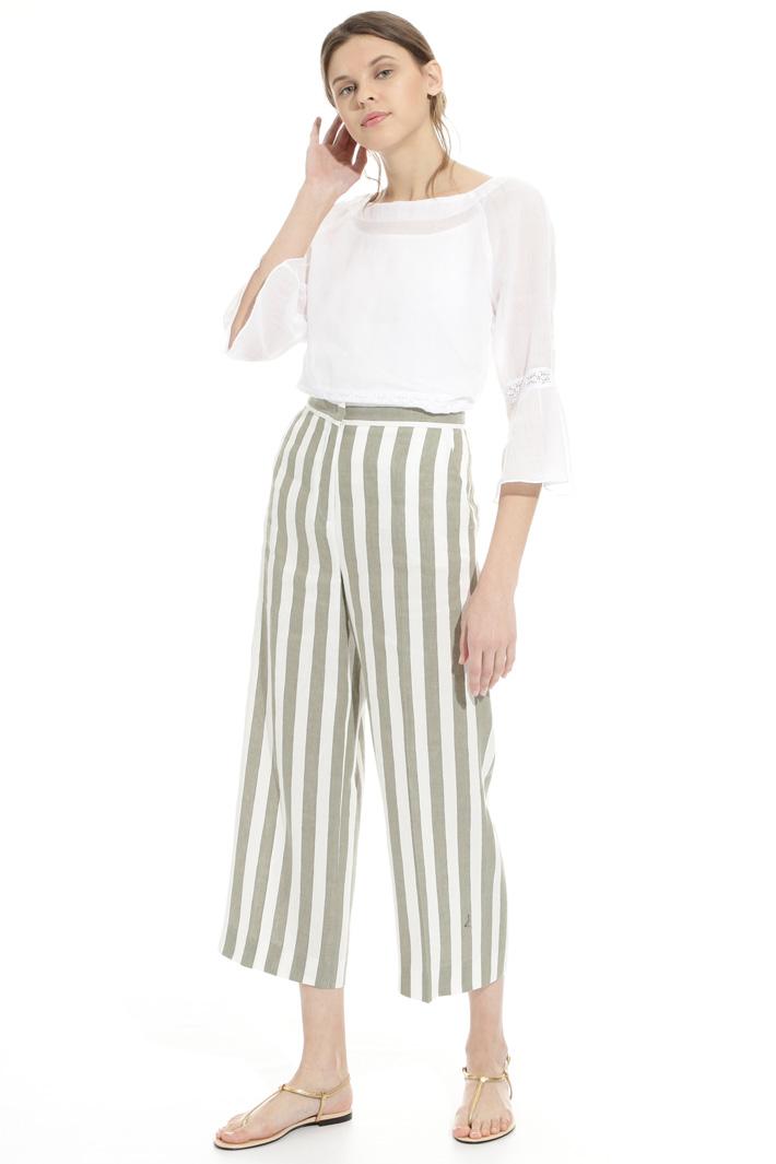 Pantalone in lino a righe Intrend