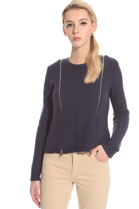 Wool sweater with zip Intrend