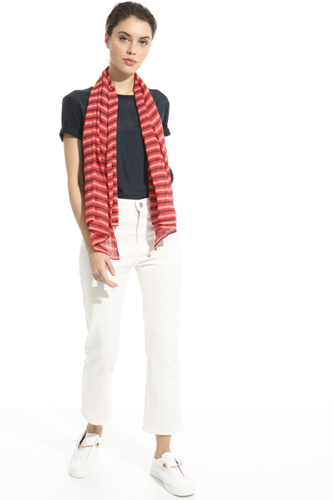 Asymmetrical striped scarf Intrend