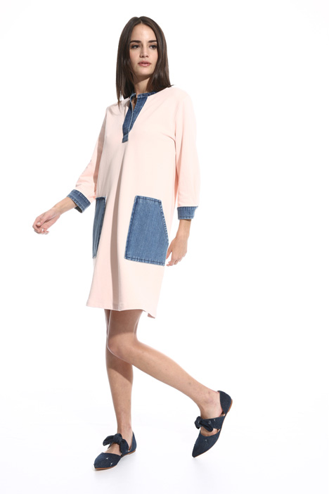 Fleece and denim dress Intrend